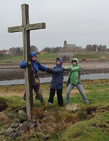 Hanging on for dear life - Liz, Gill and Sarah at St. Cuthbert's cross