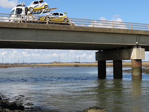 The A178 road bridge at Greatham Creek, with the seals languishing on the mudflats beyond.