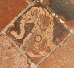 Elephant tile at Cotheridge church