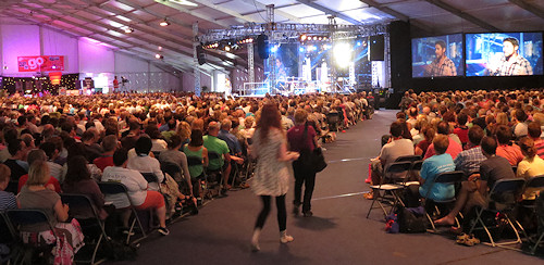 The main arena at New Wine, which holds 5,500 and was full for the main sessions