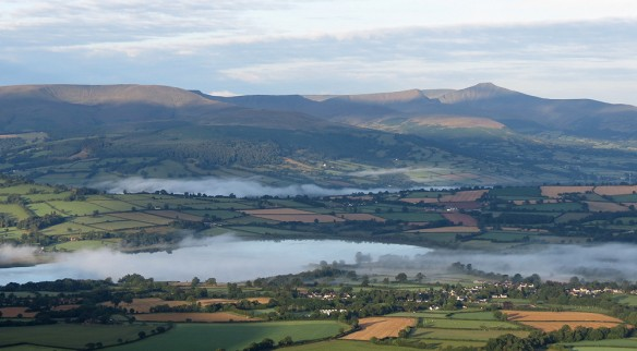 The Brecon Beacons from Mynydd Troed, with mist hanging over Llangorse Lake (foreground) and the River Wye (midground). Click to enlarge.