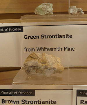 Strontianite on display in the Tourist Information Centre at Strontian