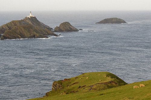 Muckle Flugga lighthouse: the rock to the right, Out Stack, is the northern limit of Great Britain.