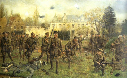 The battle at Gheluvelt Chateau, by J.P.Beadle: the Worcestershire battalion meet the South Wales borderers.