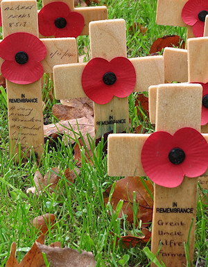 Poppy crosses to some of those who had fallen at Gheluvelt