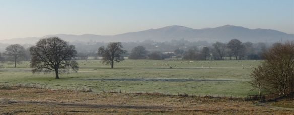 View to the Malverns from near the Carrington Bridge.