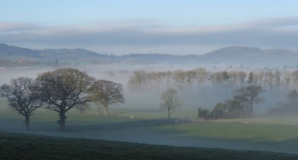 View from near Ockeridge towards Abberley clock tower.