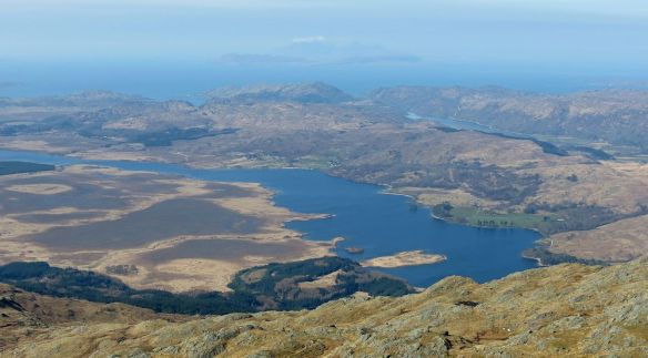 Loch Shiel from Beinn Resipol, with Muck, Rhum and Skye in the background.