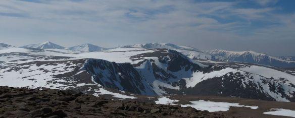 Cairngorm range: Ben Macdui is the far peak on the left.