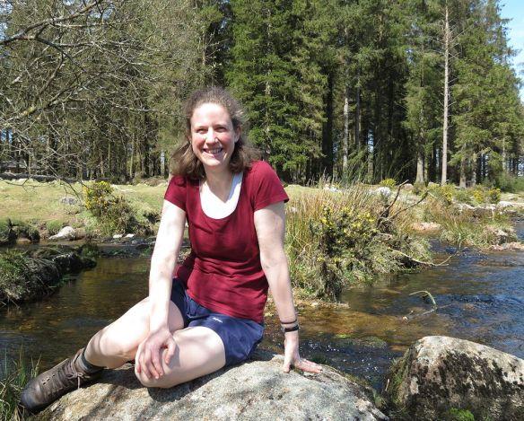 Jen on the East Dart river
