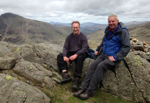 John Linney and Dave Doughty on the way up the Corridor Route to Scafell Pike. Great Gable in the background.
