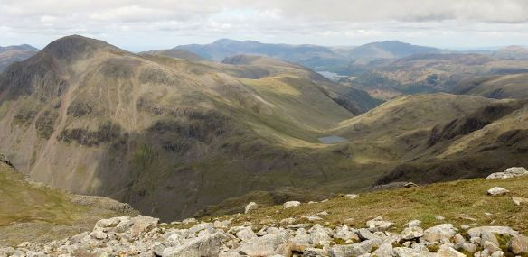 Great Gable from the Corridor Route: in the distance Skiddaw & Blencathra.