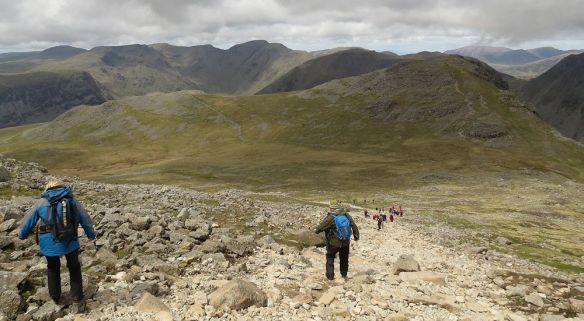 Descent from Scafell Pike, with Red Pike and Pillar in the distance.