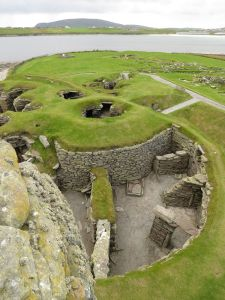 Jarlshof - an extraordinary archaeological complex spanning 4,000 years. To the lower right are the remains of a 1st C broch, above which there are two 2nd/3rd C wheelhouses.