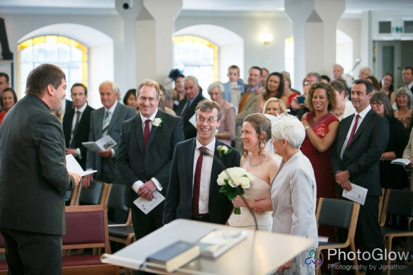 The wedding was taken by Rico Tice, a senior minister at All Souls (and top bloke!). John Linney (to my right) was best man, and Jen's mum, Margaret Siggers, was 'giving Jen away'.