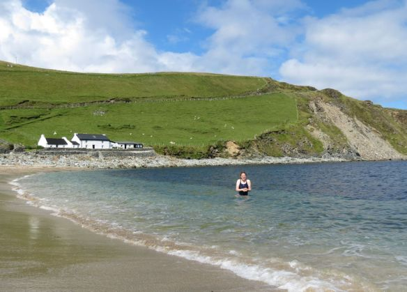 Jen was keen to swim at Norwick Beach - but not for long!