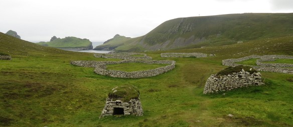 Cleits on St Kilda, looking toward Dun