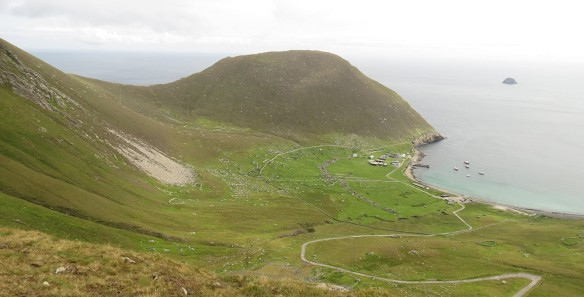 Hirta - the main island of St Kilda. The village housed the 150 or so residents in the 19th century. A few of the buildings have been renovated by the National Trust, and the modern buildings and road were put in by the military for their remote sensing station.