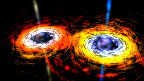 Artist's conception of a pair of black holes about to merge. Credit: NASA