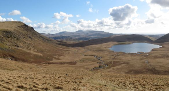 Burnmoor Tarn from Sca Fell, with Raven Crag on the left