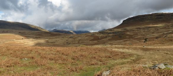 Cloudy views towards Great How (front right) on the way up to Sca Fell.