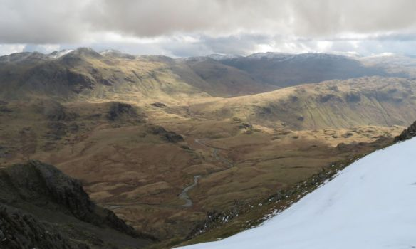 Upper Eskdale from the ascent to Sca Fell