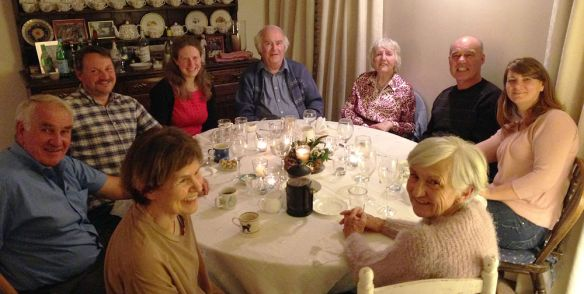 Supper at Jenny Sawtell's. L-R: Chris; Rich; Jenny; Jen; Adrian & Joyce; Dot; Tony; Marianne.