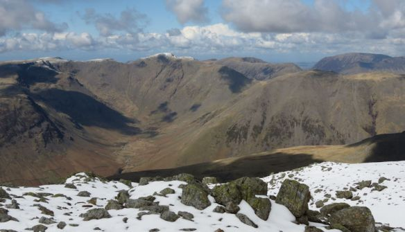 View from Sca Fell across to Pillar (with the snowy cap) and Great Gable (looming front right)