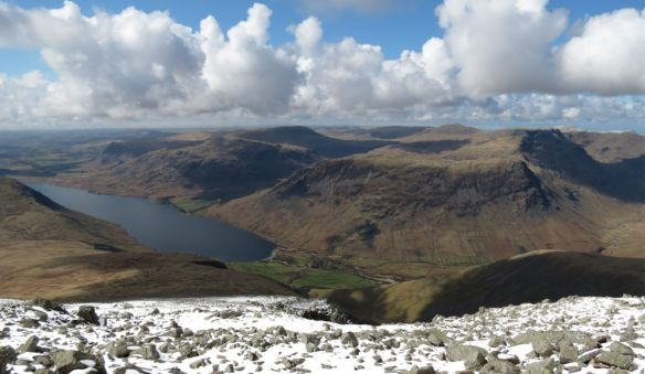 Wastwater from Sca Fell, with Yewbarrow on the right.