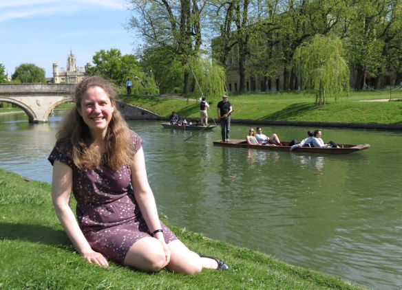 It looked like such a calm, idyllic day... sunshine, students and tourists punting on the river Cam, Jen in front of Trinity College...
