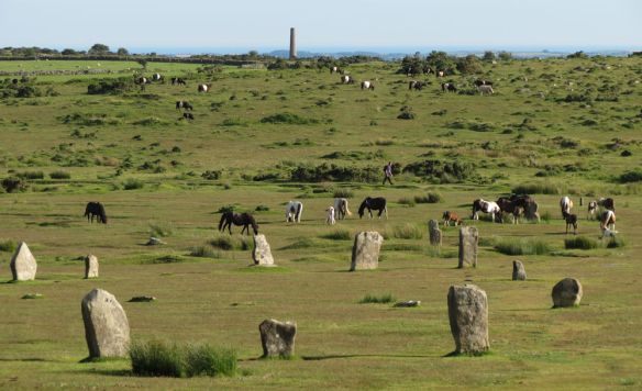 Two of stone circles at the Hurlers.