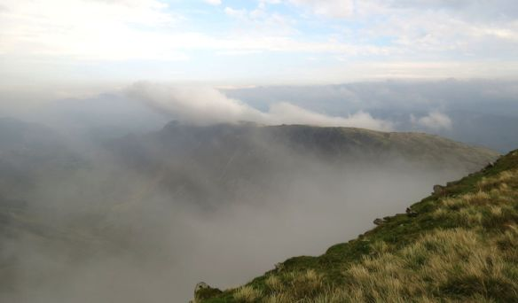 Dramatic clouds from the top of Dale Head towards Maiden Moor (Newlands Valley just visible on the left)