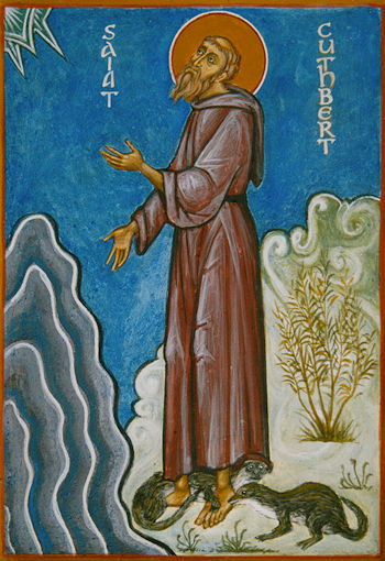 An icon of Cuthbert praying - with otters in attendance